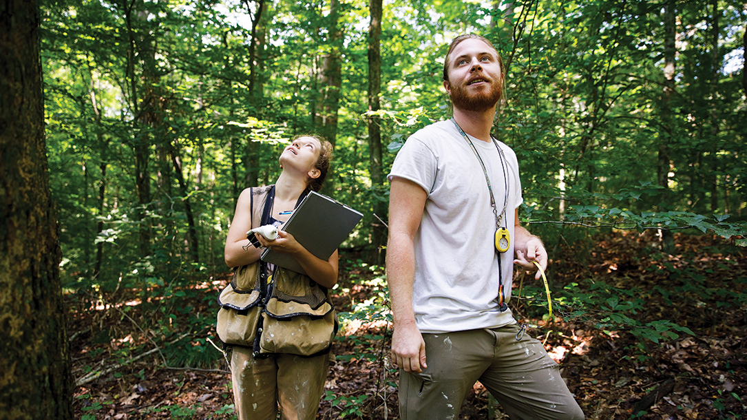 A man with a woman who is holding a clipboard walk in a forest.
