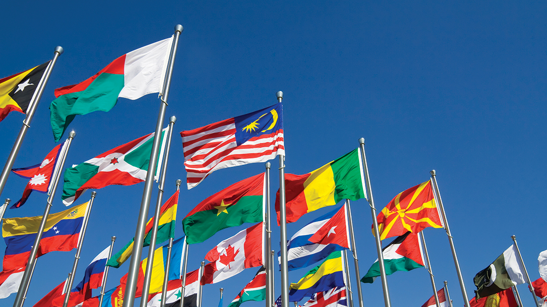 Multiple flags flying, representing nations from all over the world.